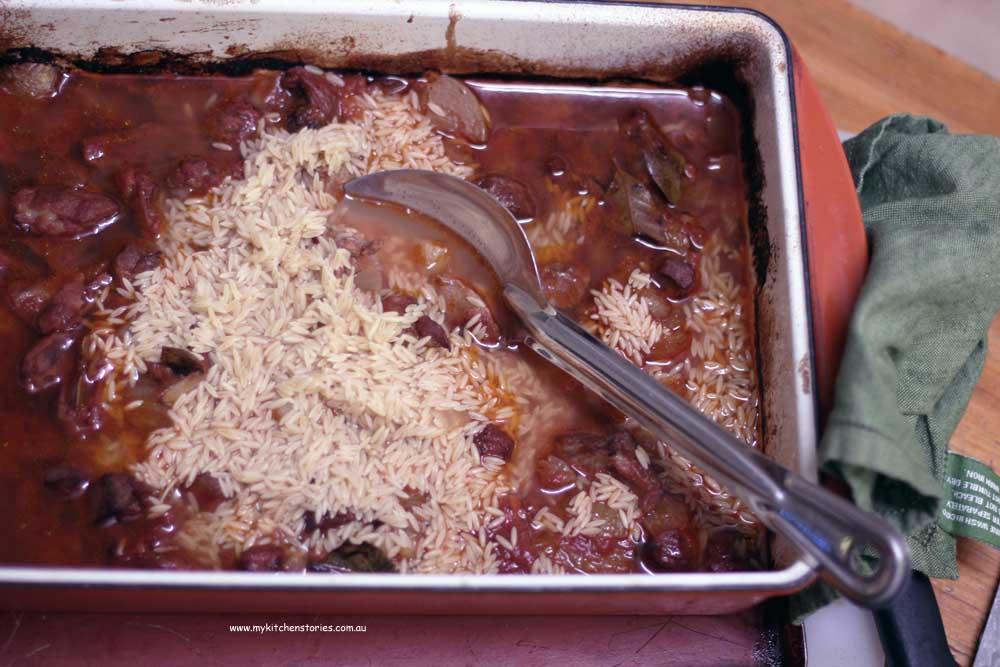 Slow roast lamb with risoni