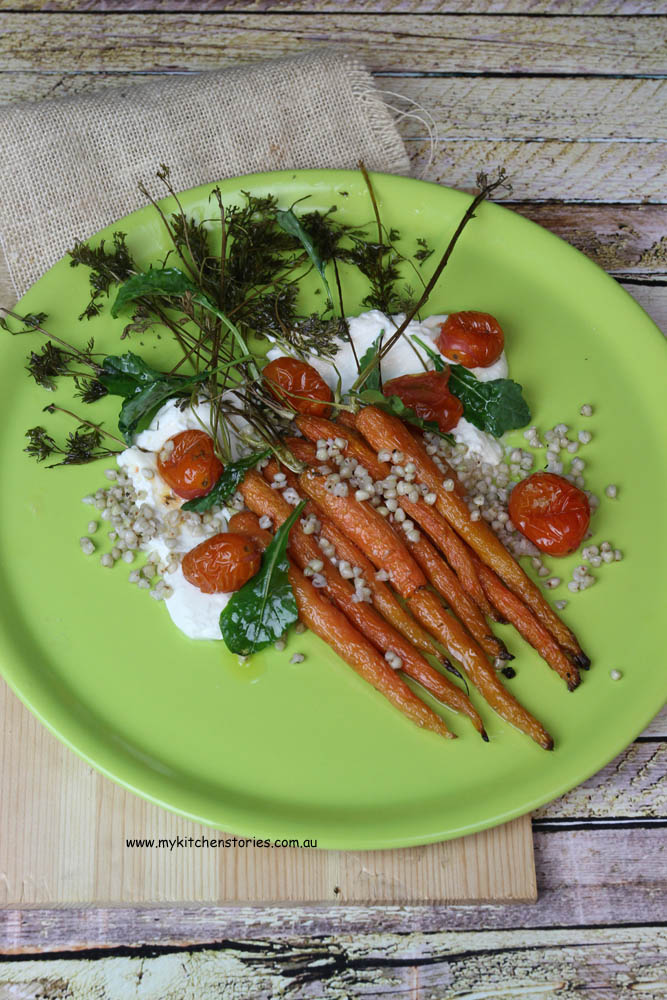Carrot, goat cheese and baby kale- roast tomatoes.