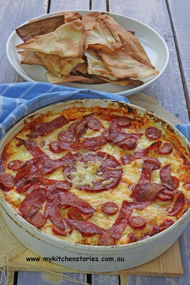 Pizza dip with salami, My Kitchen Stories