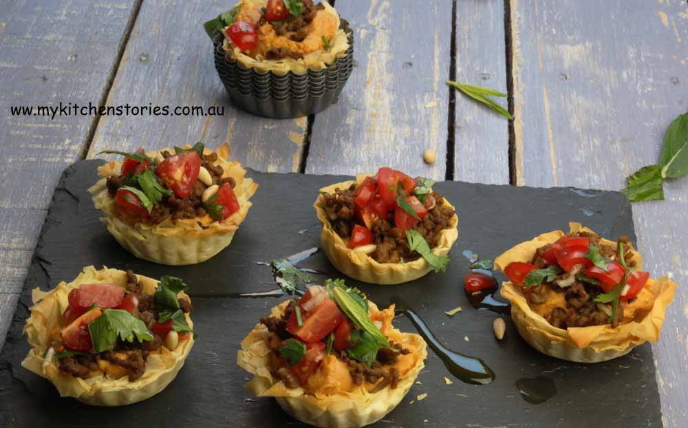 Lamb and hommus Tarts