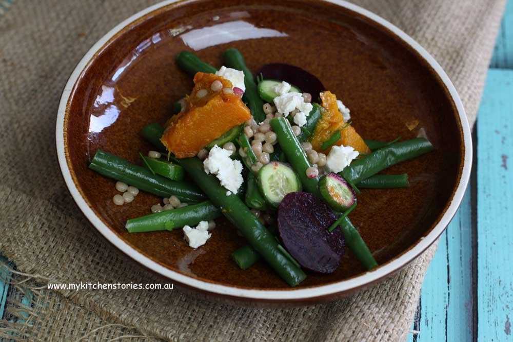Ice cream, no cooking followed by-israeli-couscous-pumpkin-and-beetroot-