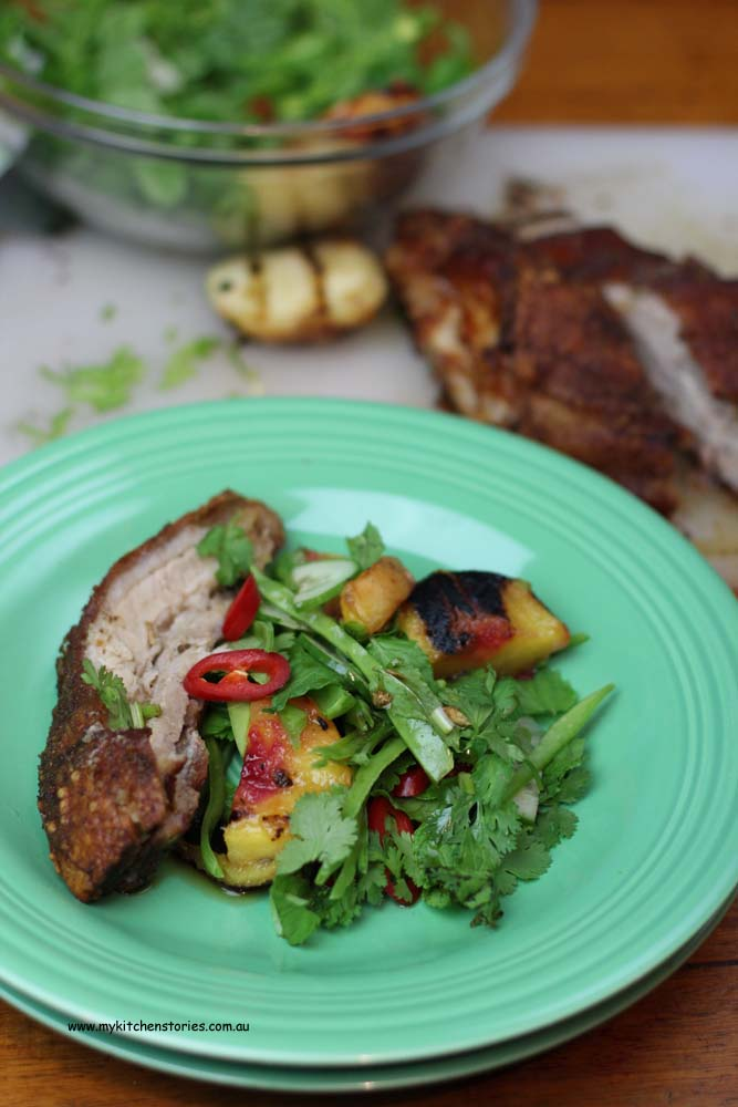 BBQ Pork and Asian Peach Salad