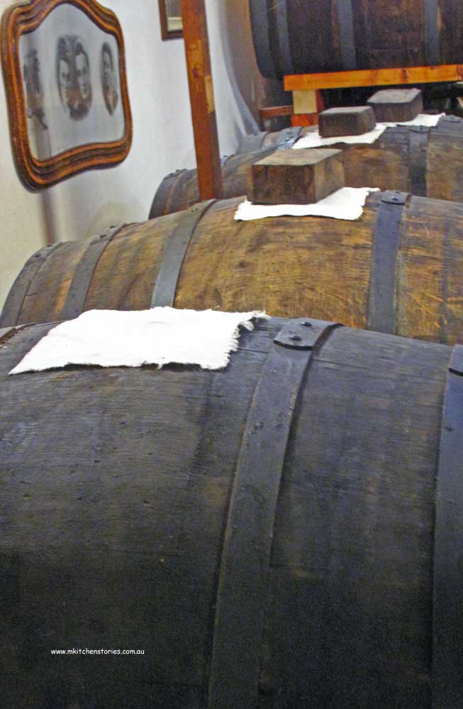 Barrels of traditional balsamic aging