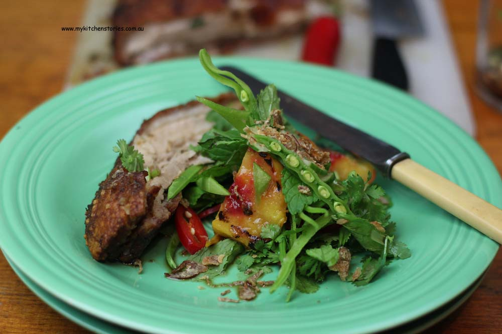 Crunchy pork belly with asian salad