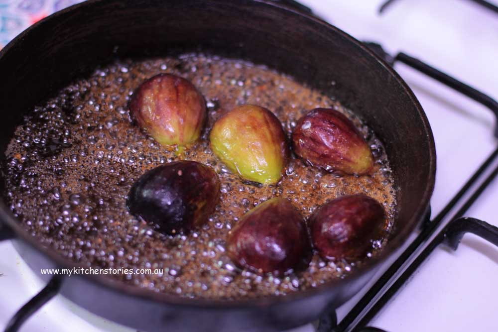 Baked Ricotta Chocolate with honeyed figs in a frypan
