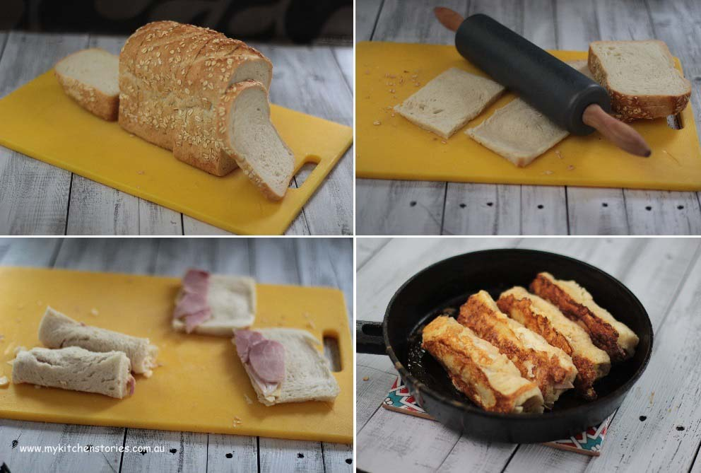 Ham and cheese French Toast Rolls in the making