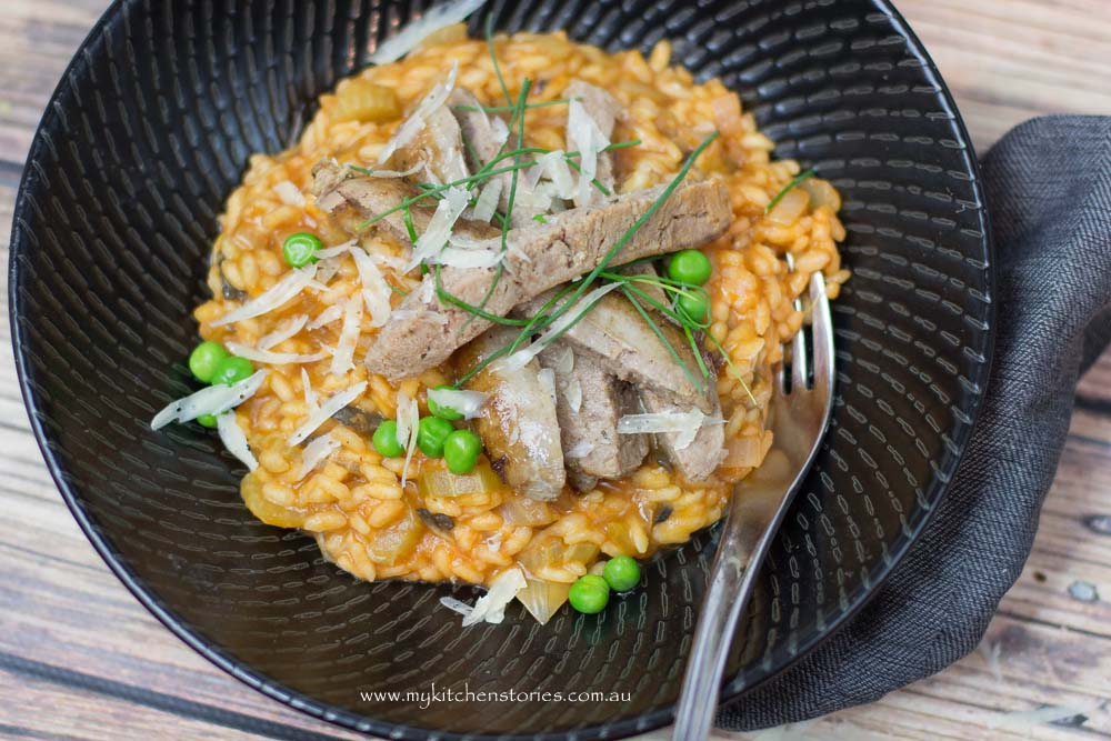 Tomato risotto with sausage 1