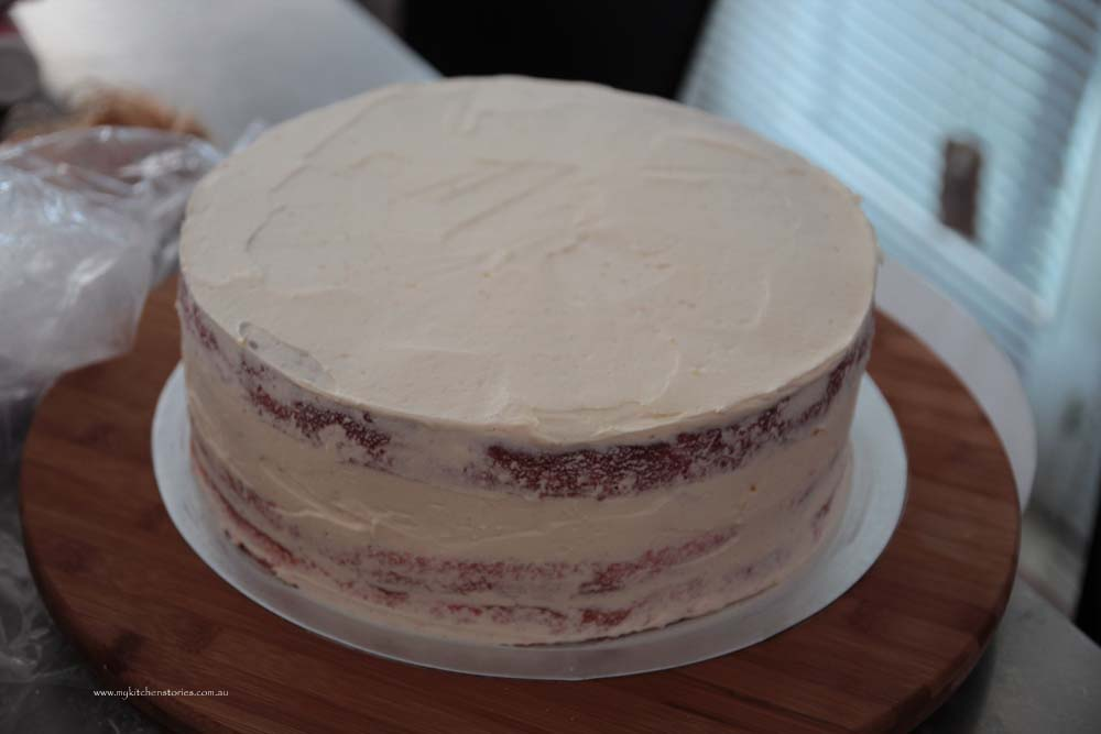 pink bow cake crumb coat