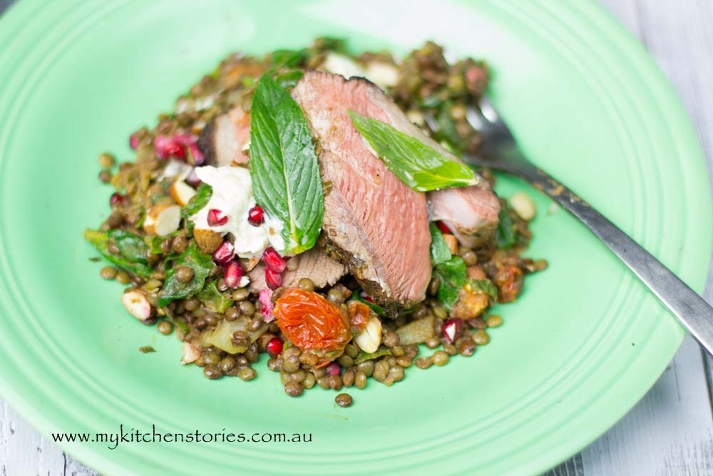Spiced lamb with smoked eggplant and lentils