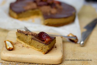 A slice of Date Caramel Chocolate Tart- My kitchen Stories