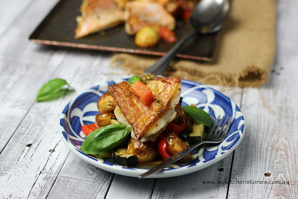 Snapper with mediterranean vegetables