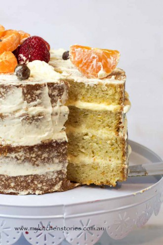 Mandarin Yoghurt Layer Cake naked and delicious