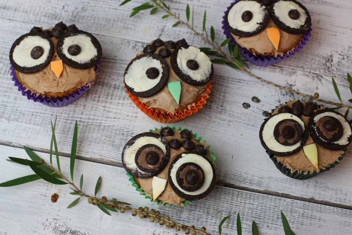 Easy Owl Cupcakes moist apple cake My Kitchen Stories