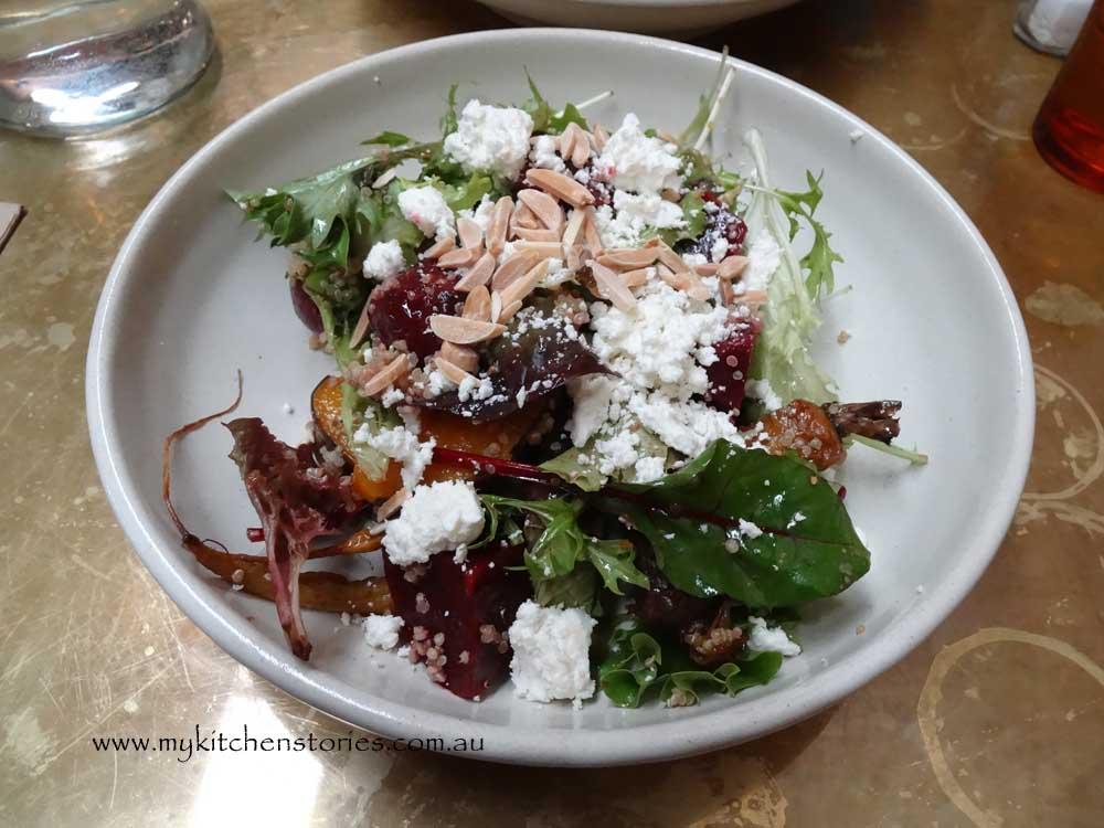 Roast Pumpkin, beetroot salad with Quinoa, feta and almonds
