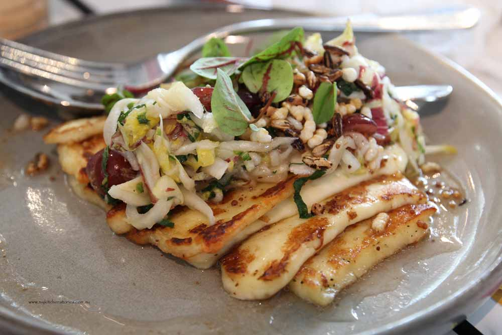 Grilled haloumi, pickled grapes,mint puffed rice and carraway