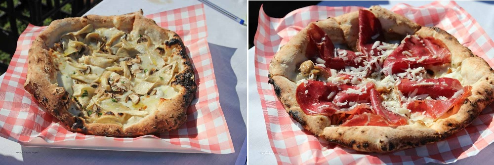 Mushroom Pizza and Bresaola truffle Pizza- happy as Larry