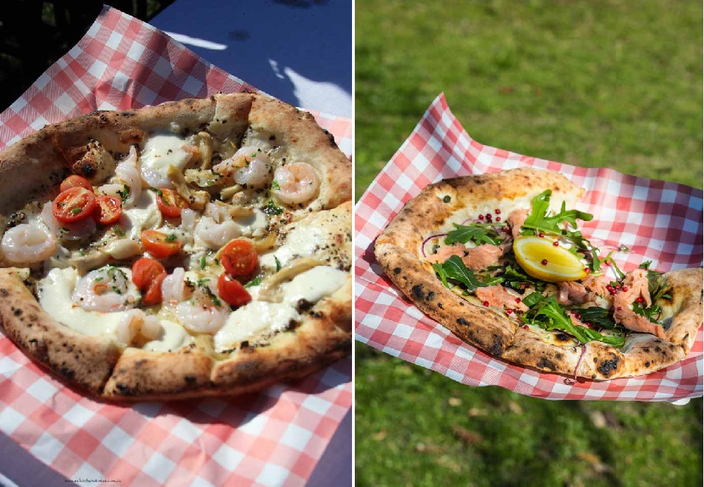 Prawn Pizza and Smoked Trout Pizza