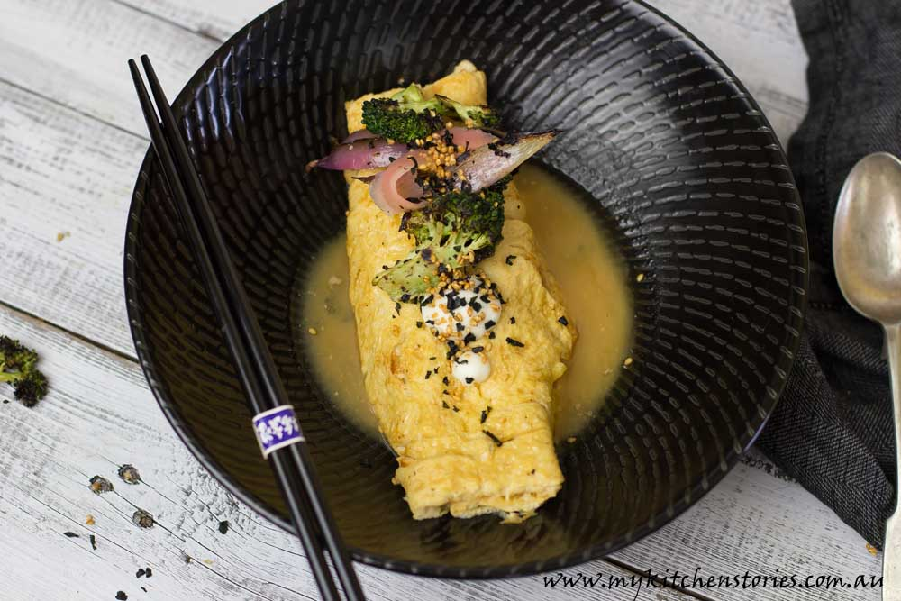 Dashi, miso Omelette with pulled pork
