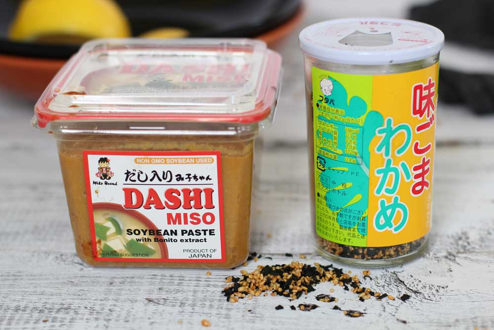 dashi miso and roasted dashi sesame seeds