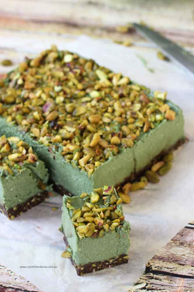 Pistachio No bake slice pieces.