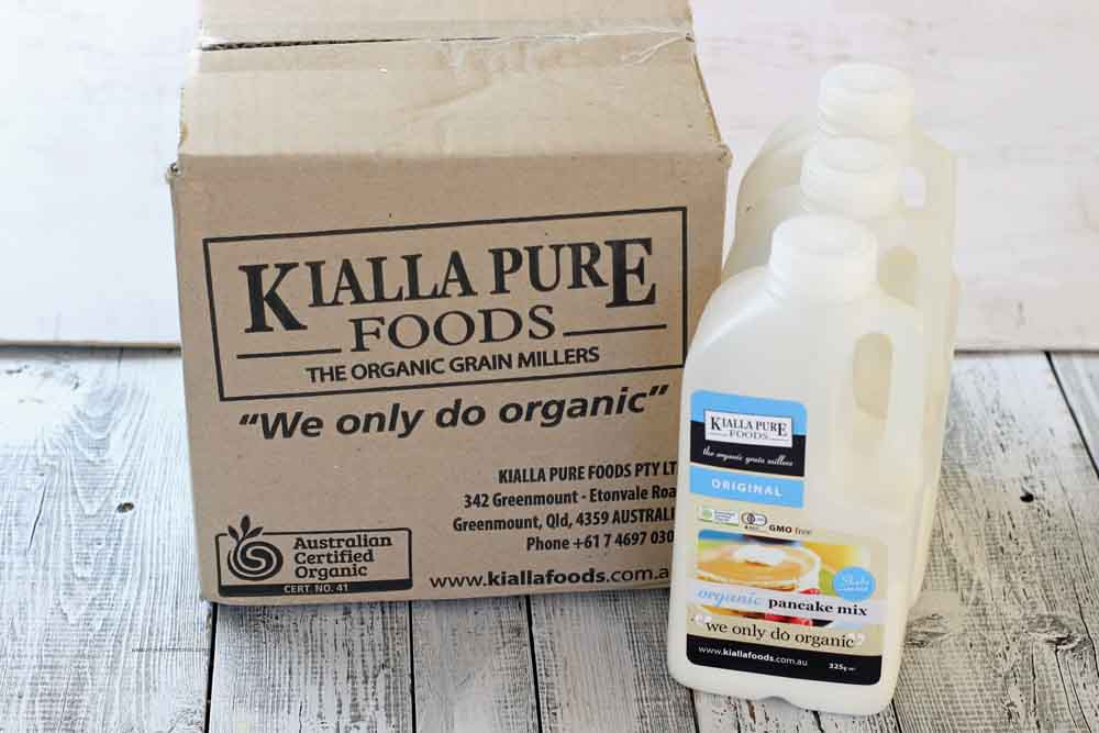 A box of pancake mix Kialla Foods