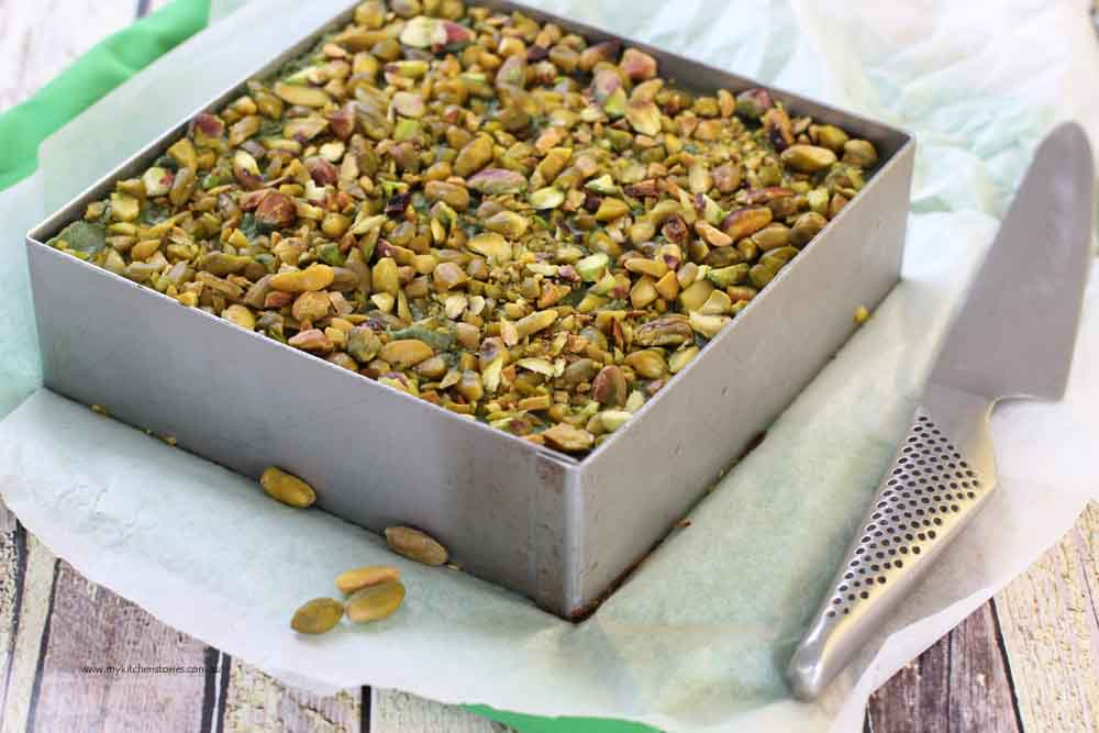 Pistachio no bake slice ready to cut