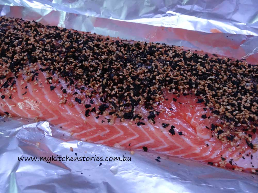 BBQ Salmon all dressed and ready to barbecue