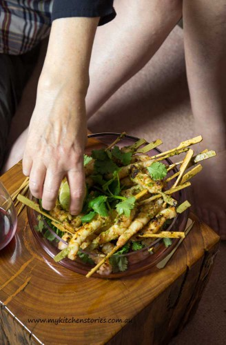 Prawn Skewers with Coriander Lime and Palm Sugar