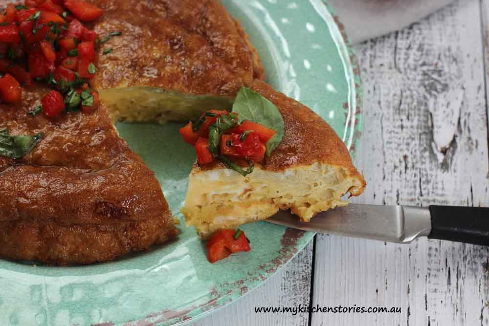 Spanish Potato Chip Omelette, with capsicum salsa, My Kitchen Stories
