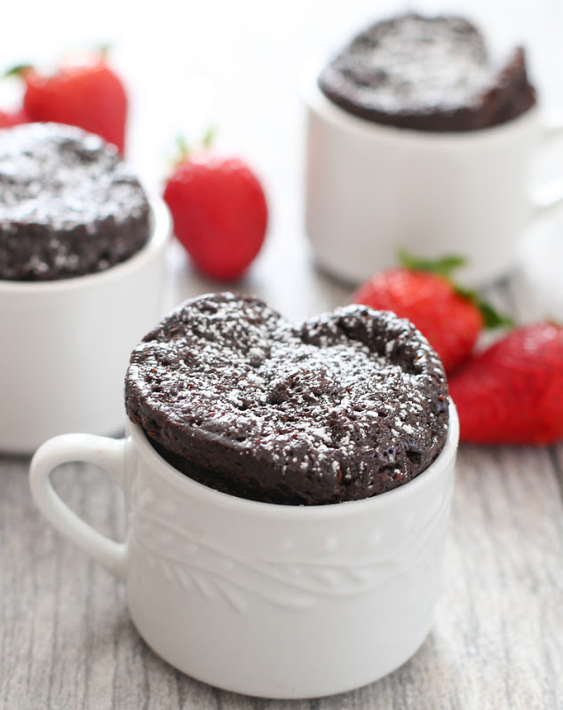 Mug Desserts for singles with chocolate and strawberry