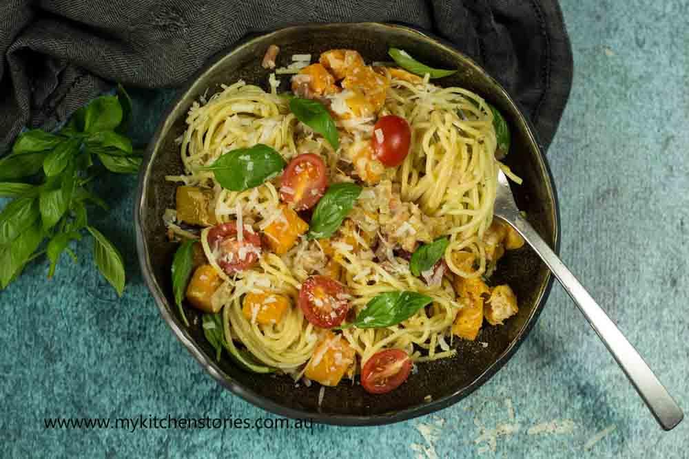 Spaghetti Carbonara with Pumpkin
