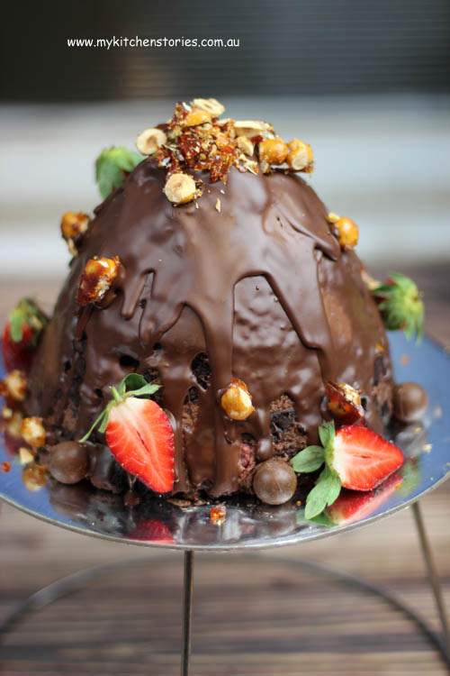Chocolate kit kat cake made into a Volcano cake