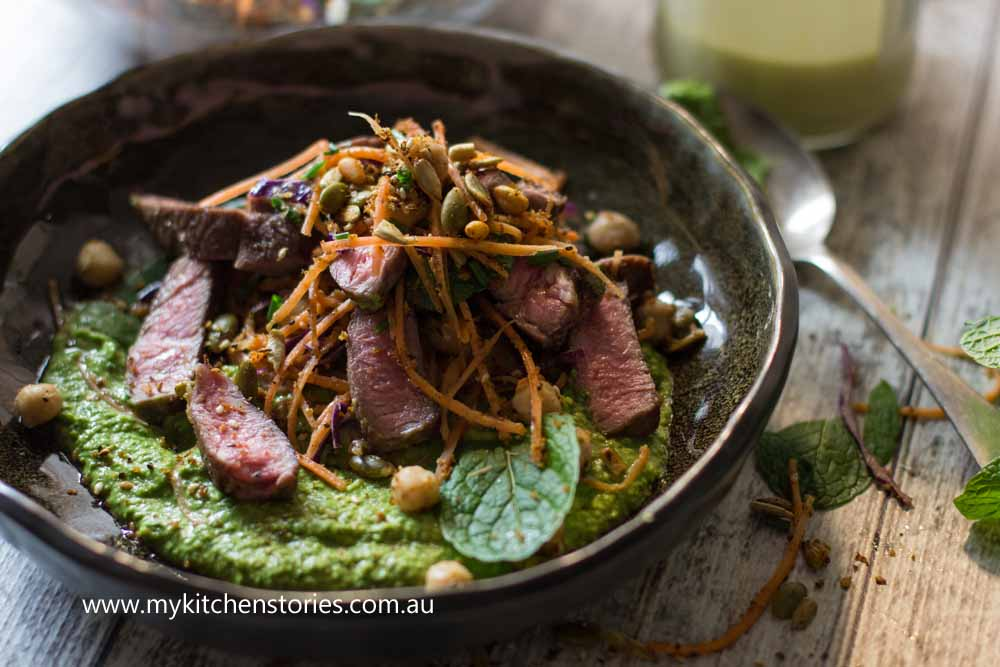 Lamb with mint hummus