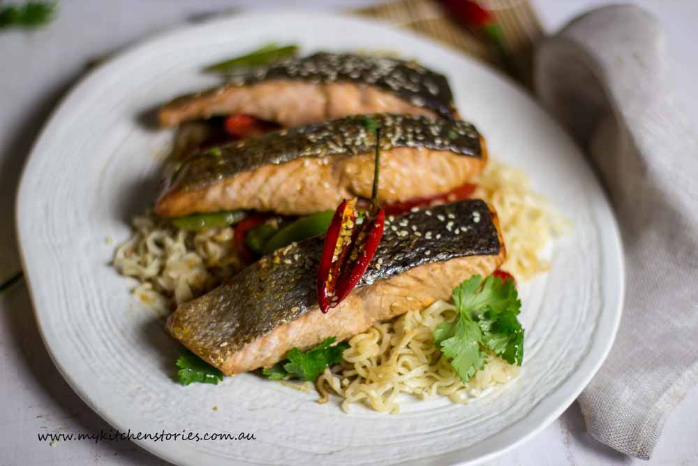 baked Salmon with two minute noodles