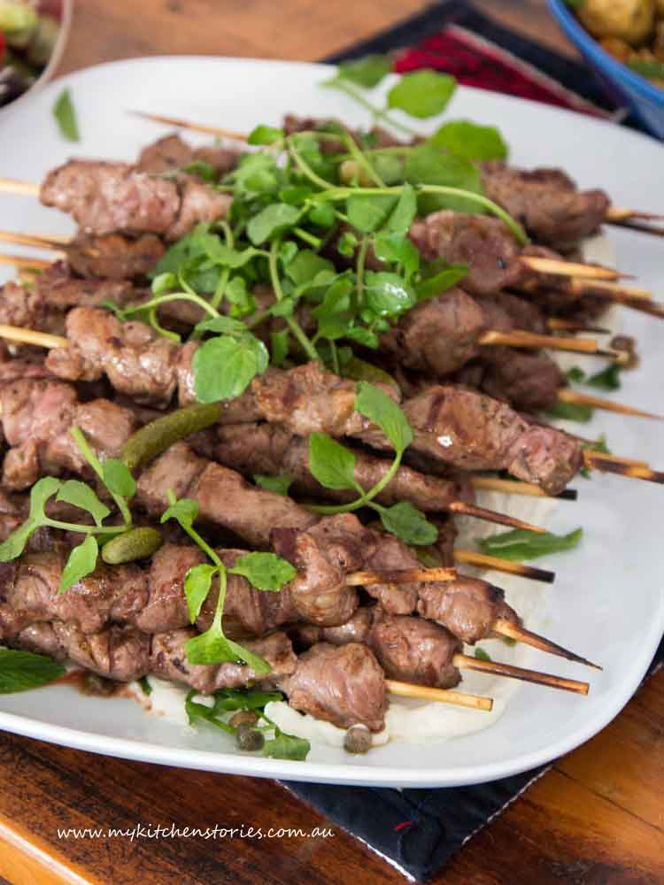 Lamb Skewers on a big white plate