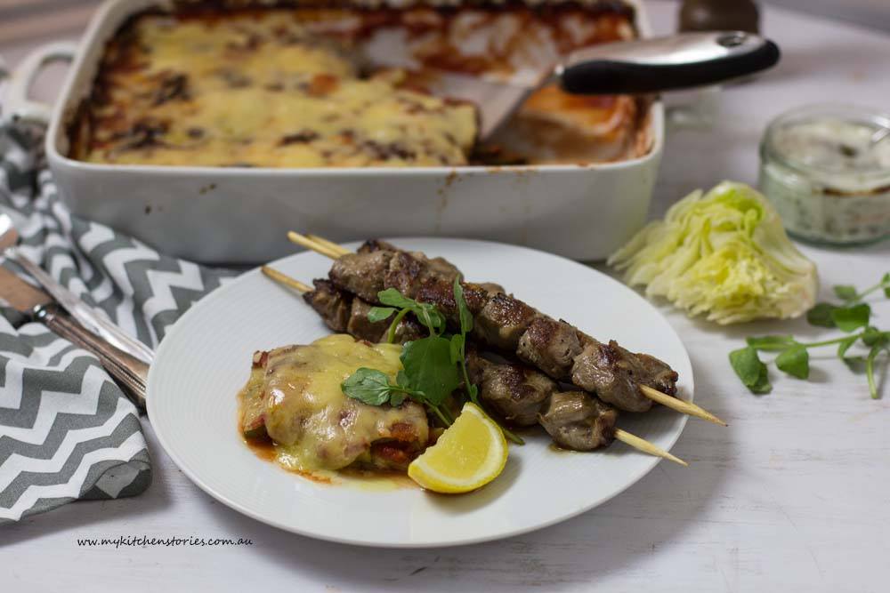 Weeknight Lamb skewers zucchini cheese bak