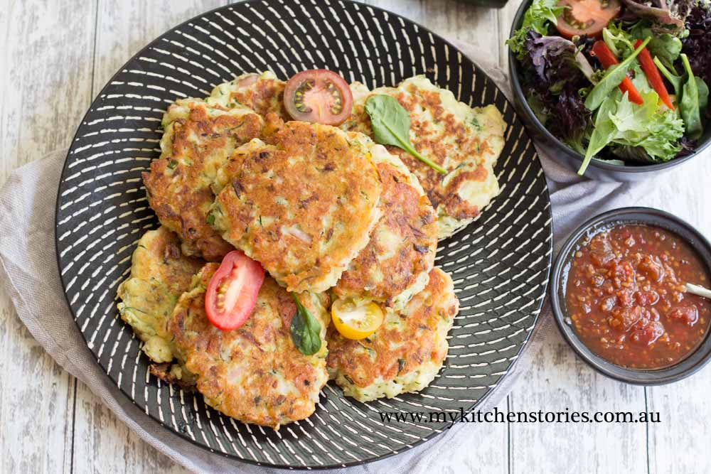 Ham Zucchini Ricotta Fritters with salad