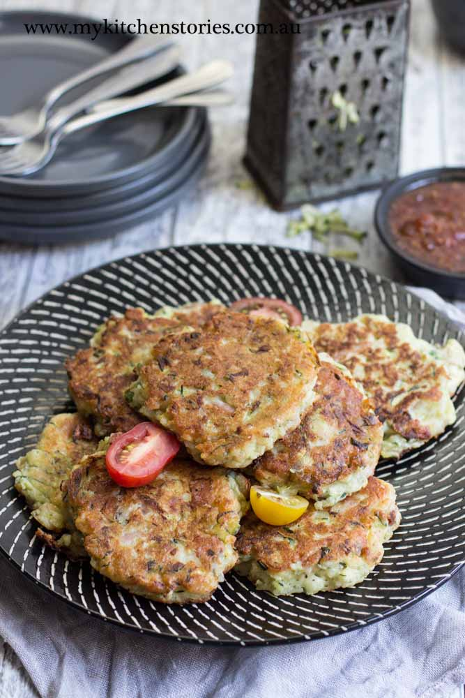 Ham Zucchini Ricotta Fritters made with leftover ham