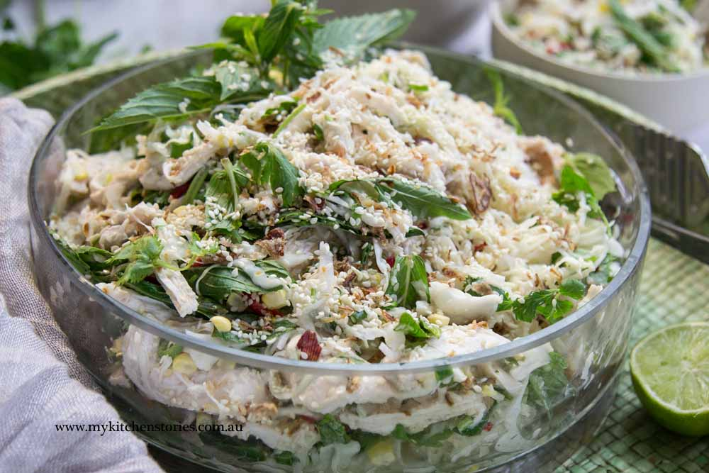 Chicken Sesame Salad with cabbage and lemon