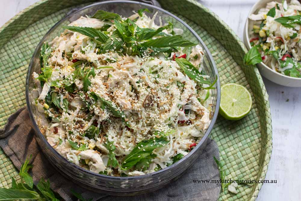 Poached Coconut Chicken, salad