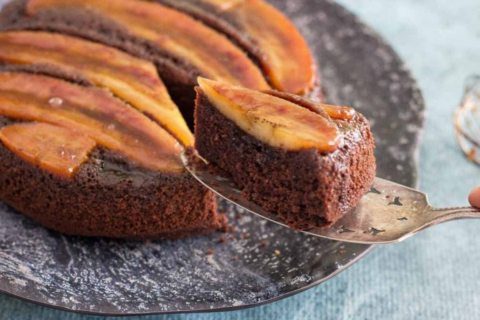 Chocolate Banana Upside Down cake