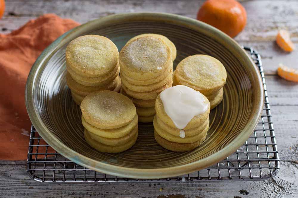 Mandarin Shortbread in a bowl