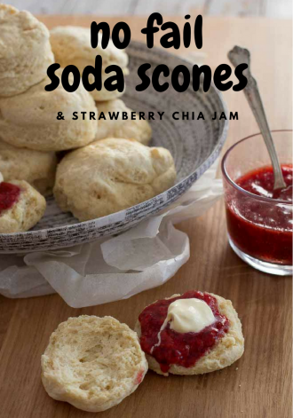 Soda Scones with strawberry chia jam- MKS