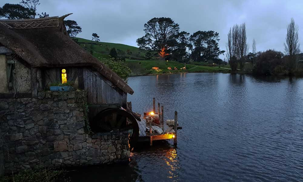 Crossing the bridge at Hobbiton