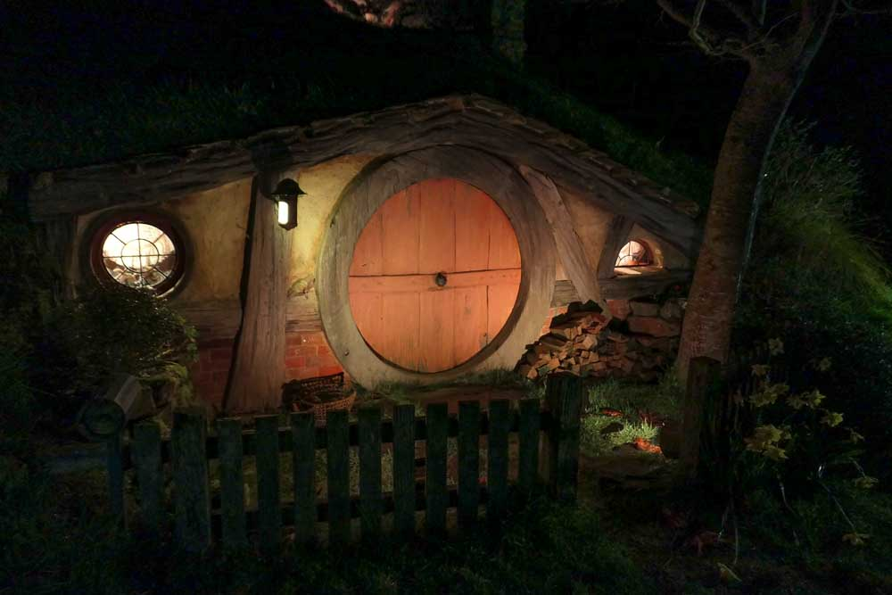 Night time views of Hobbiton
