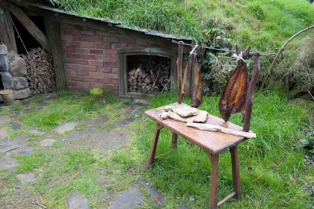 Hobbiton, smoked fish outside