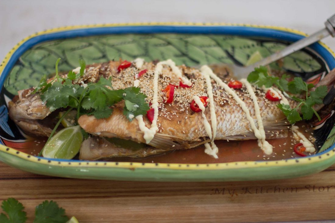 BBQ Snapper with sesame seeds