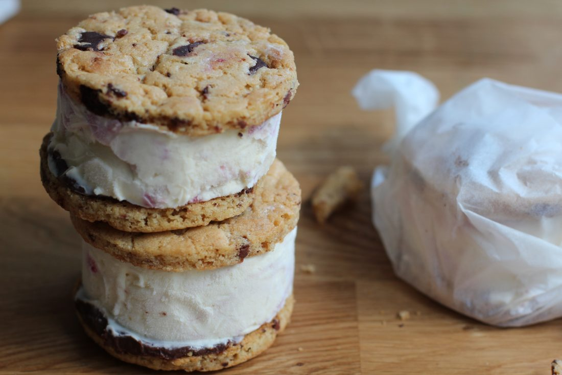 Chocolate chip ice cream sandwiches stacked