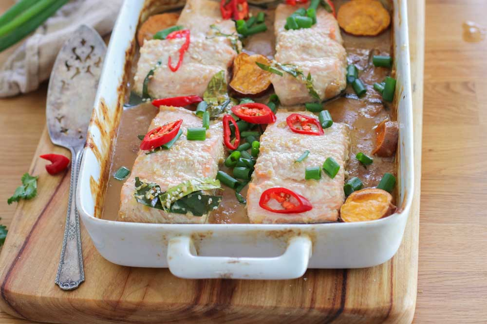 Salmon Tray Bake, Soy Lime on a white dish