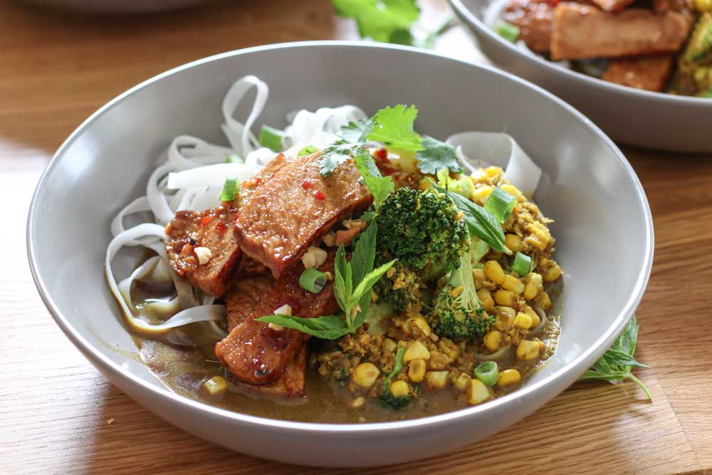 Chilli caramel Pork with noodles and corn